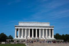 Lincoln Memorial With Tourists - stock photo