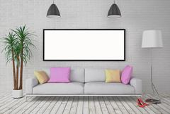 Mock up blank poster on the wall with lamp and sofa. Stock Illustration