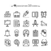 Set of Outline Education Icons on White Background - stock illustration