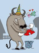 Bull gets angry to see his red present - stock illustration