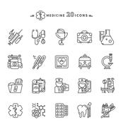 Set of Outline Medicine Icons on White Background - stock illustration