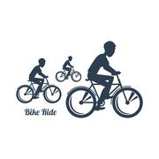 Teenagers Riding Bicycles Silhouettes Black Icon Stock Illustration