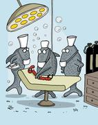 Funny cartoon about fish as doctors - stock illustration