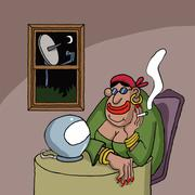 Cartoon about a fortune teller - stock illustration