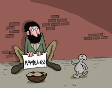 Cartoon about animal and homeless man - stock illustration