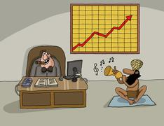 Conceptual cartoon about company profit - stock illustration