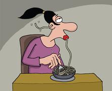 Funny cartoon of a woman eating spaghetti Stock Illustration