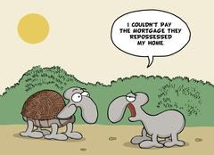 Funny cartoon about animals and mortgage - stock illustration