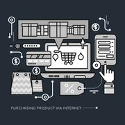 Stock Illustration of Purchasing, Delivery Product via Internet on Black