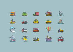 Kinds of Transport Set Colorful Outline Icons - stock illustration