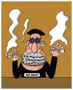 Heavy smoker - stock illustration