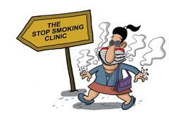 Stock Illustration of Woman goes to a smoking clinic