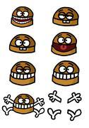 Group of humorous hamburgers Stock Illustration