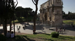 Angled footage of Arch of Constantine Stock Footage