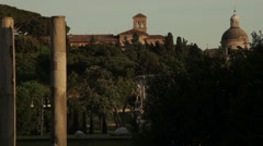 Baslica of Santi Giovanni e Paolo seen from nearby park. Stock Footage