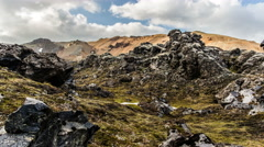 Landmannalaugar  Iceland, rugged volcanic rocks creepy lava field timelapse 4k   Stock Footage