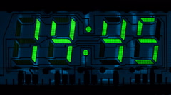 Countdown clock green led Stock Footage