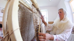 The art of weaving cattail mats Stock Footage