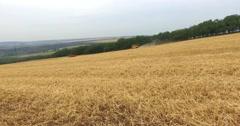 AERIAL 4K harvesters working Stock Footage