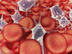 Conceptual image of red blood cells with platelets. Piirros