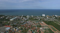 Aerial view city and the beach Hua Hin city in Thailand - stock footage