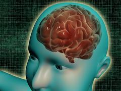 Conceptual image of female body with brain, side view. Stock Illustration