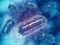 Group of Escherichia coli bacteria cells, known as E. Coli. - stock illustration