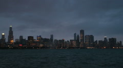 Chicago skyline view at night, video Stock Footage