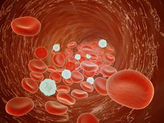 Red blood cell flow inside the artery. Stock Illustration