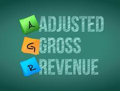 Adjusted gross revenue post memo chalkboard sign Stock Illustration