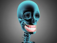 X-ray view of human skeleton showing teeth and gums. - stock illustration