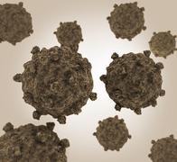 Conceptual image of coxsackievirus. - stock illustration