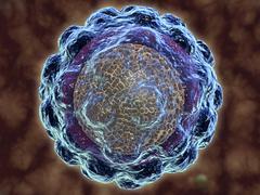 Conceptual image of hepatitis virus. - stock illustration