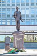 PERM, RUSSIA - JUN 11, 2013: Monument to Alexander Popov, the famous inventor - stock photo