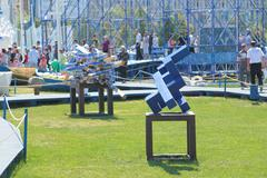 PERM, RUSSIA - JUN 11, 2013: Abstraction of blue wood sculpture festival in t - stock photo