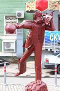 PERM, RUSSIA - JUL 18, 2013: Urban sculpture Good morning Mr Popov near Cryst Stock Photos