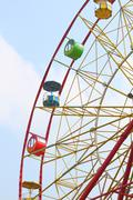 Colorful cabins large ferris wheel - stock photo