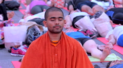 Meditation scene first International Day of Yoga Times Square New York City NYC - stock footage