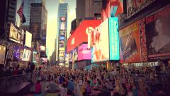 Hundreds of people attend a yoga session in Times Square NYC - stock footage