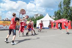 PERM, RUSSIA - JUN 13, 2013: Youth Basketball Tournament at festival White Ni Stock Photos