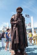 PERM, RUSSIA - JUN 15, 2013: Living sculpture Pushkin at White Nights festiva - stock photo