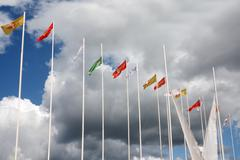 PERM, RUSSIA - JUN 10, 2012: Many flags of festival White Nights. White Night - stock photo