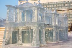 PERM - FEBRUARY 17: Palace in Ice town, on February 17, 2012 in Perm, Russia. Stock Photos