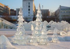 PERM - FEBRUARY 17: Firs in Ice town, on February 17, 2012 in Perm, Russia. D - stock photo