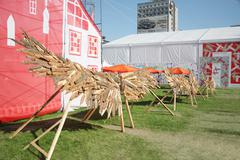 PERM - JUNE 7: Wooden wings at festival White Nights, on June 7, 2012 in Perm - stock photo