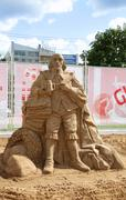 Stock Photo of PERM - JUNE 10: Sand sculpture Shakespeare at festival White Nights, on June