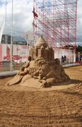 PERM - JUNE 10: Sand sculpture Omar Khayyam by Konstantin Siryachenko at fest - stock photo