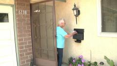 Old Senior Woman Mailing Letter Mailbox Daily Life Retirement Community Stock Footage