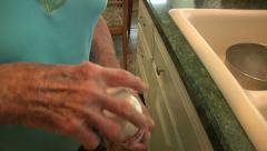 Old Senior Woman Opening Bottle Pills Medication Daily Life Retirement Community Stock Footage