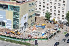 PERM, RUSSIA - JUN 25, 2014: Popova street and shopping center Iceberg Crysta Stock Photos